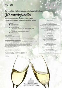 Malminseudun Yritysyhdistys 30-vuotisjuhlakutsu