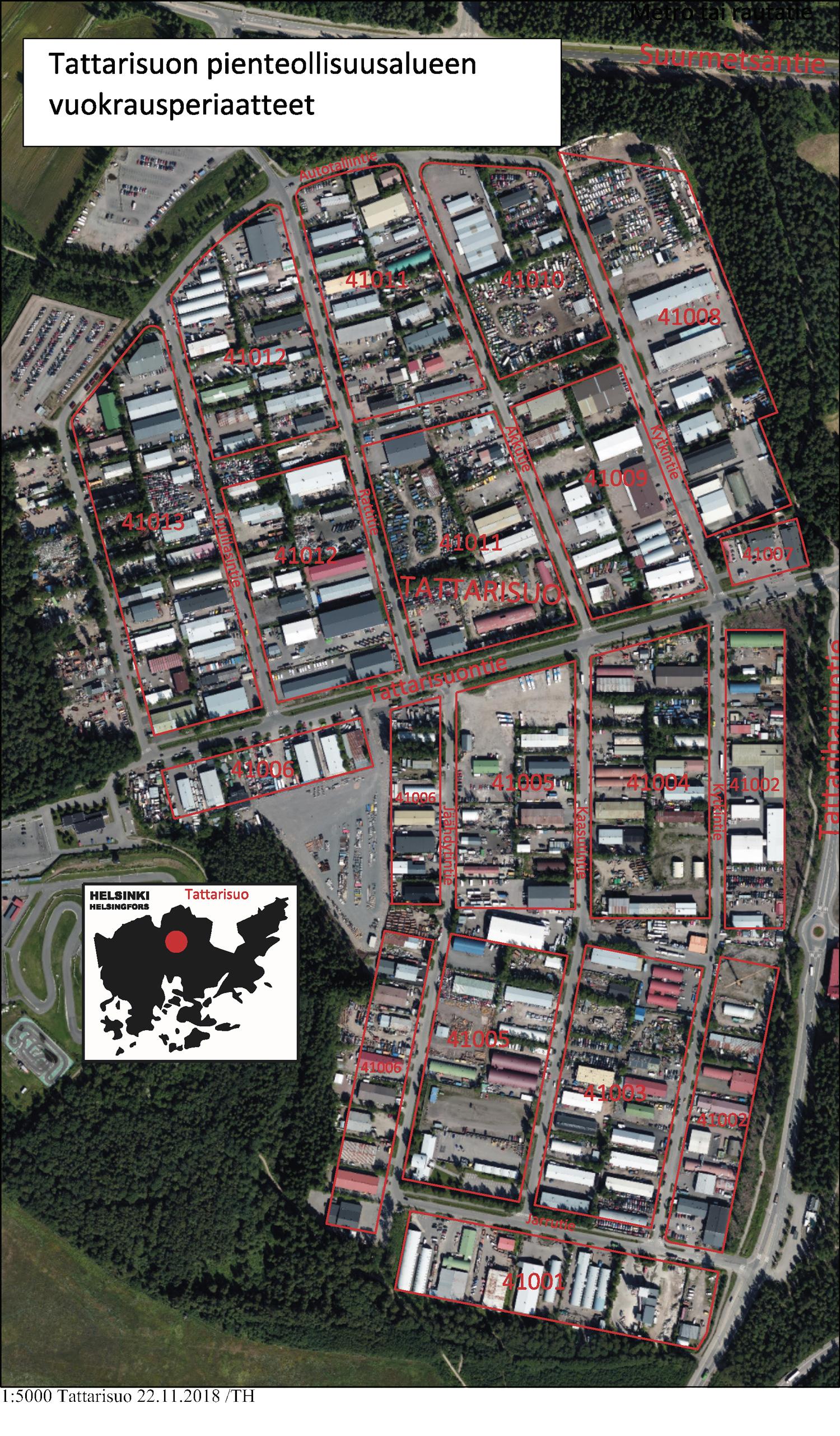 Liite 2 kartta Tattarisuon pienteollisuusalueesta