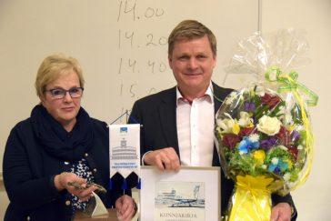 Lisbet Sipilä ja MSY:n vuoden yrittäjä Jari Silvola